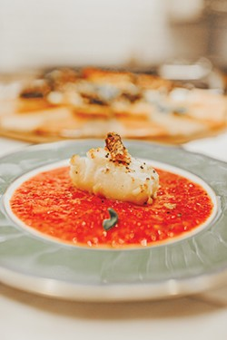 Chilean sea bass with a roasted red pepper sauce - ALEXA ACE