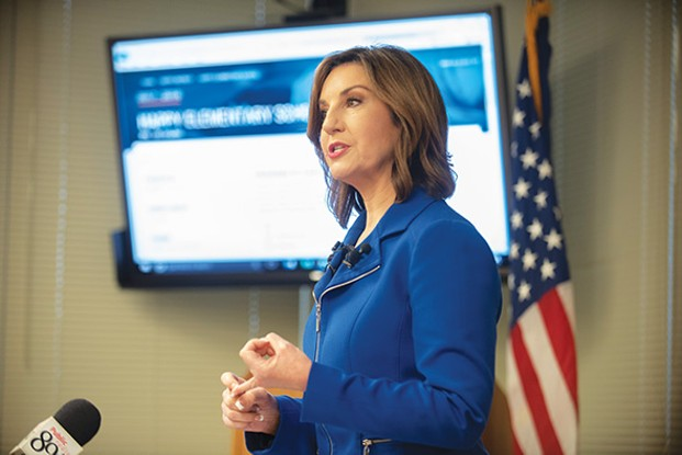 State superintendent Joy Hofmeister revealed the revamped school report card system at a media event Feb. 26; it was approved and launched Feb. 28. - MIGUEL RIOS