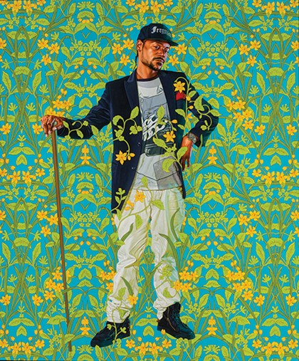 "Kehinde Wiley's ""Jacob de Graeff"" features Brincel Kape'li Wiggins Jr., a man Wiley met on the street in Ferguson, Missouri, in a pose reminiscent of Dutch painter Gerard ter Borch's 1674 portrait of Amsterdam regent Jacob de Graeff. - JEAN-PAUL TORNO / PROVIDED"