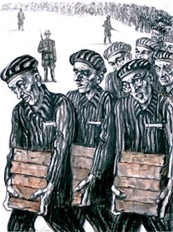 "David Friedman's ""Prisoners Carrying Bricks"" depicts the artist as the prisoner with glasses. - FRED JONES JR. MUSEUM OF ART / PROVIDED"