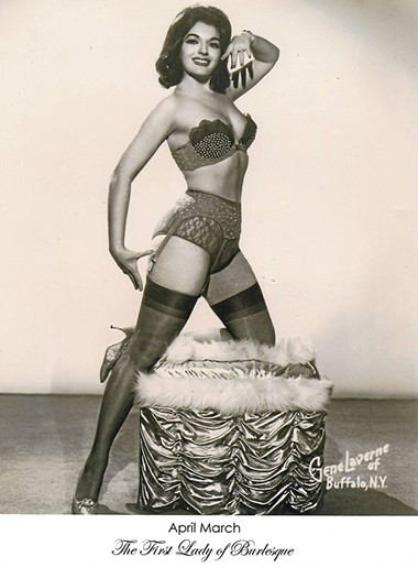 At 83, Oklahoma City's April March, shown in an early publicity photo, is one of the grand dames of burlesque. - PROVIDED