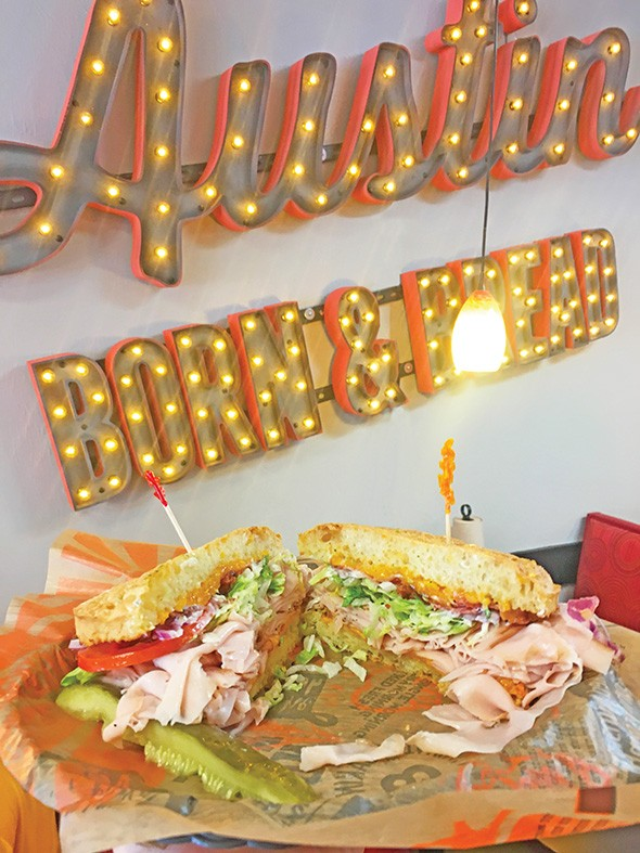 The Spicy Turkey BBQ Bacon Smokecheesy sandwich at Schlotzsky's Austin Eatery is a new sandwich added after its rebrand. - JACOB THREADGILL