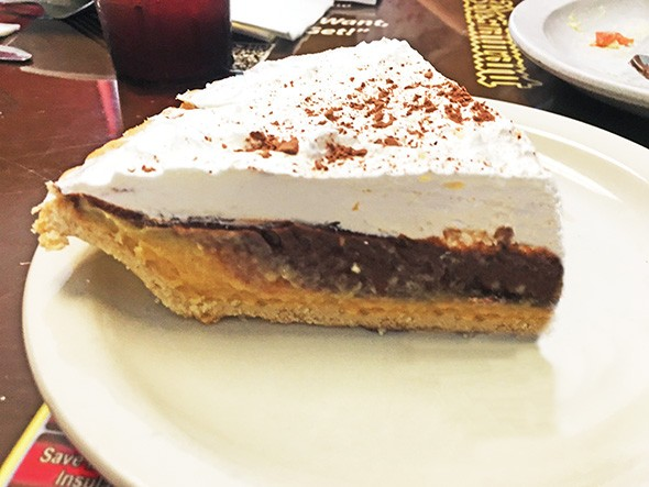 Reese's Pie with peanut butter and chocolate layers with housemade pie crust - JACOB THREADGILL