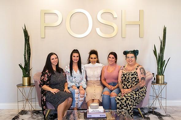 Ashley Morford, Micah Lauren, Shellica Jordan, Ashley Jackson and Sally Rowe provide an array of beauty services at Posh Beauty Bar & Lash Studio. - ALEXA ACE