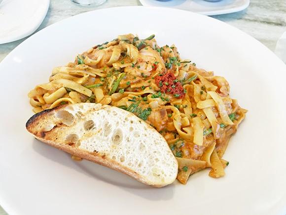 Smoked salmon pasta with sun-dried tomato cream pesto - JACOB THREADGILL