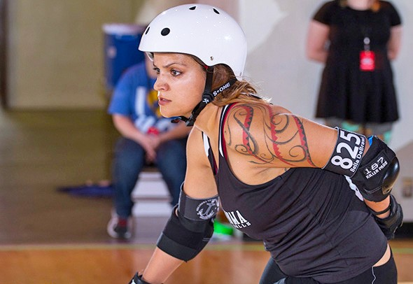 Cheyenne Riggs skates for the  Outlaws under the name Professor Flex. - KC DERBY DIGEST / PROVIDED