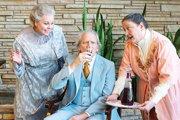 Aunt Abby (Carol McDonald-Walley) and Aunt Martha (Chris Harris) serve Mr. Witherspoon (Barry Thurman) poisoned wine in Arsenic and Old Lace Aug. 22-Sept. 15 at Jewel Box Theatre. - HEATHER DESHAZER / PROVIDED