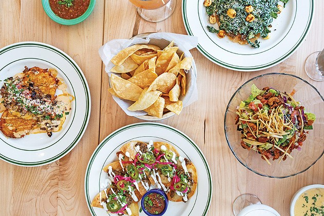 from left Brisket papas, half moon nachos, kale caesar tostada and Mexrad Chop salads - ALEXA ACE