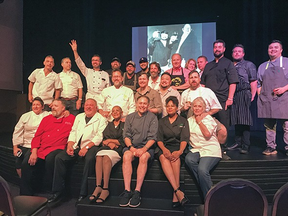 Chefs onstage at Will Rogers Theater Event Center for the John Bennett memorial - PROVIDED