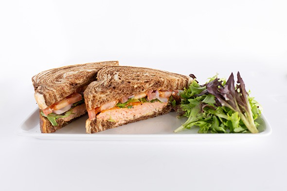 The salmon club served on marble rye bread - PROVIDED