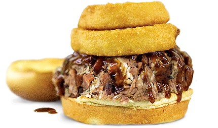 Samson is six meats — chicken, rib, brisket, pulled pork, hot link and ham — chopped together and topped with onion rings. - ALEXA ACE