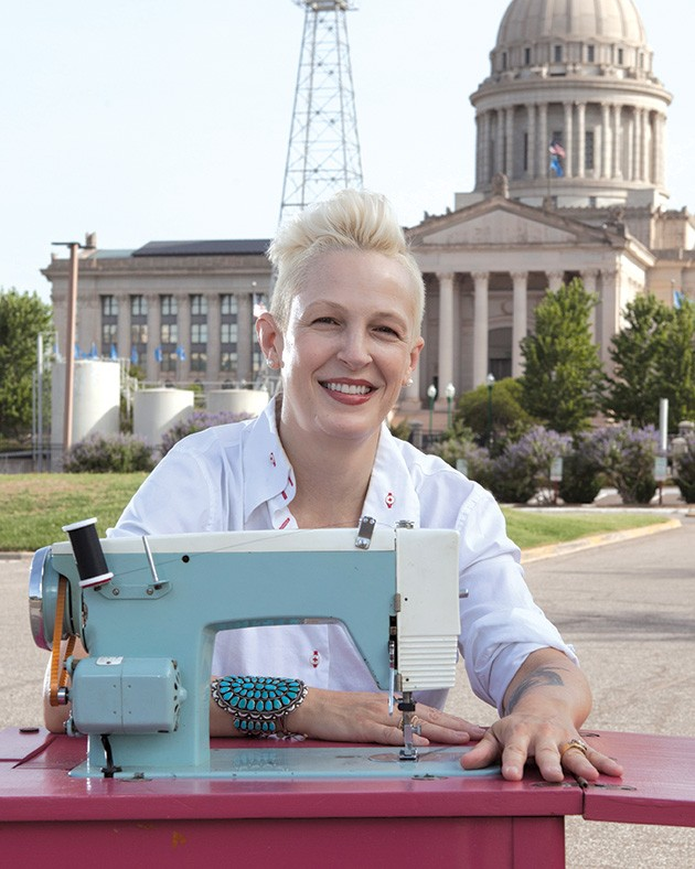 Marilyn Artus will sew the first 19 stripes onto the flag's star field 2:30-4 p.m. Jan. 18 at Oklahoma History Center. - PROVIDED