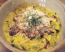 Spinach pappardelle with a sauce made with tomatillo and butternut squash - JACOB THREADGILL