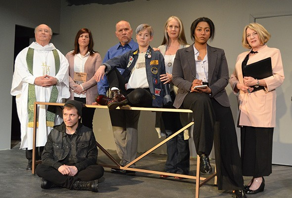 John Kovaleskie, Ford Filson, Alexandra Shadid, Grant Brittan, Sara Byerly, Denise Hughes, Aiesha Watley and Cindy Barrios star in The Library at Carpenter Square Theatre Friday-March 14. - RHONDA CLARK / PROVIDED