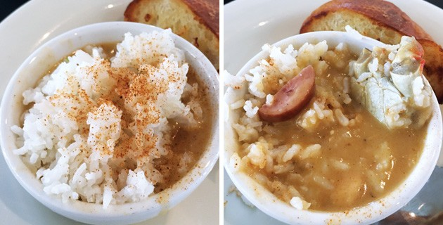Before and after photos that show rice covering up a crab shell that takes up a large portion of a cup of gumbo. - JACOB THREADGILL
