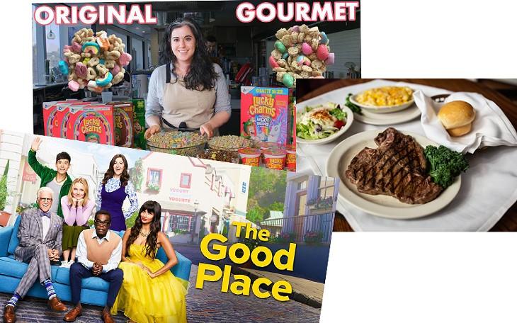 The Good Place (Hulu) | Image Hulu / provided • Bon Appétit's Gourmet Makes (YouTube) | Image Bon Appétit's Gourmet Makes / YouTube / provided • Stockyards City | Photo Alexa Ace