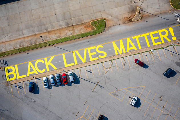 """""""BLACK LIVES MATTER"""" was recently painted on Springlake Drive in northeast Oklahoma City. - ALONZO ADAMS PHOTOGRAPHY / PROVIDED"""