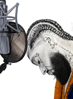 """Nipsey and Mic"" - GREG POGUE JR. / PROVIDED"