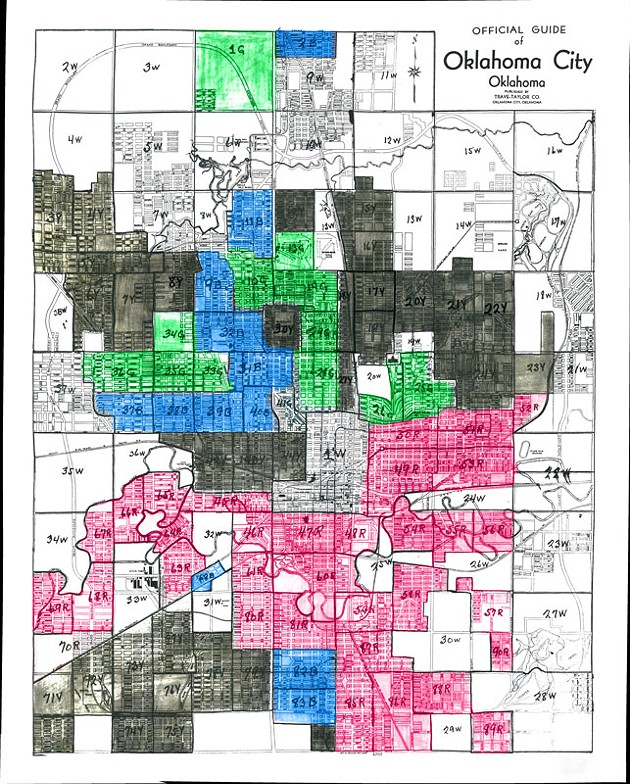 REDLINING MAP KEY -  - Robert Nelson, director of the Digital Scholarship Lab at the University of Richmond, helped design and lead the efforts of Mapping Inequality. -  -  - The project collected more than 150 archived redlining maps and overlaid them over modern city maps. - Nelson explained the key for Oklahoma City's 1930s-era redlining map. It's best interpreted by the following letter grades. -  -  - A — green, labeled as #G, considered best - B — blue, labeled as #B, considered desirable - C — brown, labeled as #Y, considered declining - D — red, labeled as #R, considered hazardous -  - The white areas, labeled as #W, were commercial or undeveloped properties. - NATHAN POPPE / CURBSIDE CHRONICLE / PROVIDED