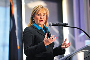 Governor Mary Fallin speaks during a Makers Conference at Francis Tuttle, Thursday, Feb. 11, 2016. - GARETT FISBECK