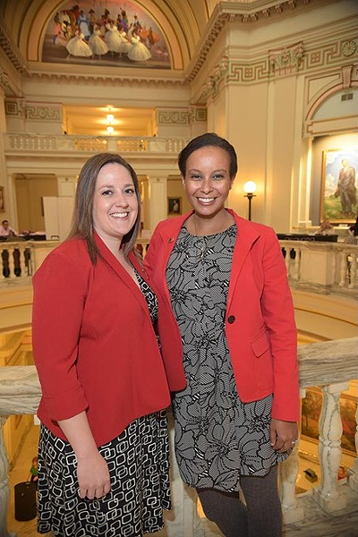 From left, Calley Herth, Communications Director, and Naomi Amaha, Government Relations Director, with the American Heart Association, on the 4th floor rotunda of the Oklahoma State Capitol.  Naomi is a lobbyest for the OHA advocating for heart health policies.  mh
