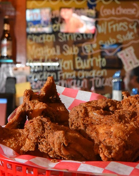 The 8 Piece Coaches chicken basket, and lots TVs, at Half Time Sports Grill in far southwest OKC, 2-10-16. - MARK HANCOCK
