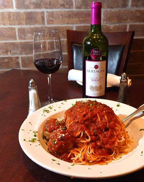 Spaghetti and Meatballs with Beringer Merlot at Spazio Ristorante, 11-20-15. - MARK HANCOCK