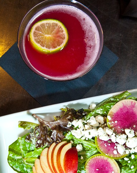 Hibiscus Margarit and Farmers Market Salad at LOCAL in Norman. (Mark Hancock)