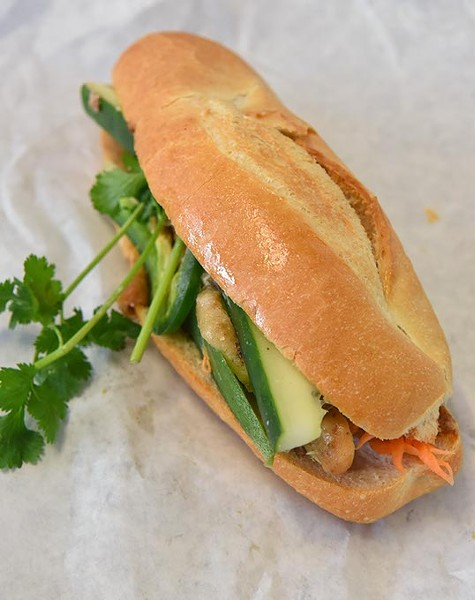 The grilled chichen on bahn mi bread at Quoc Bao Bakery, 10-5-15. - MARK HANCOCK
