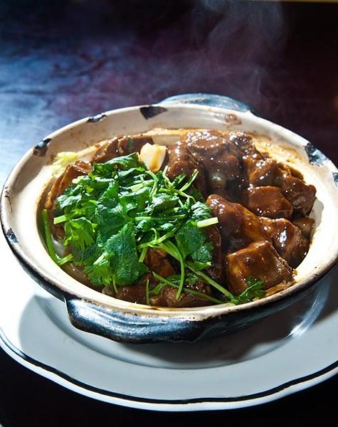 Spare rips with black mushroom hot pot. (Mark Hancock)