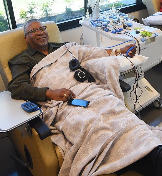 Ernest Jackson Jr make a blood platelett donation at the Oklahoma Blood Institute recently.  mh