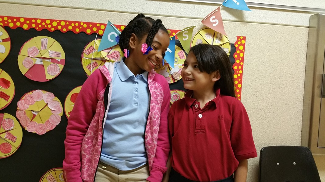 Justyce Swain and Culena Torres, second grade students at Hawthorne Elementary. - BEN FELDER