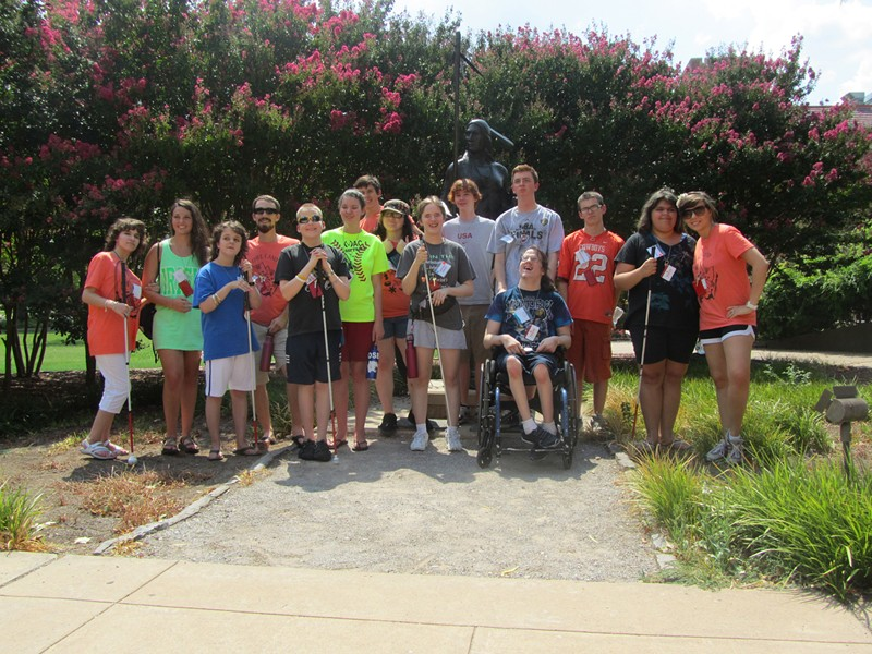 OWL Campers and their counselors on University of Central Oklahoma campus, 2013