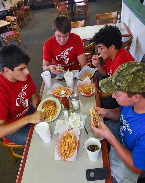 A group of friends from Christian Heritage Academy enjoy a lunch together at Back Yard Grill in Del City, 9-23-15. - MARK HANCOCK