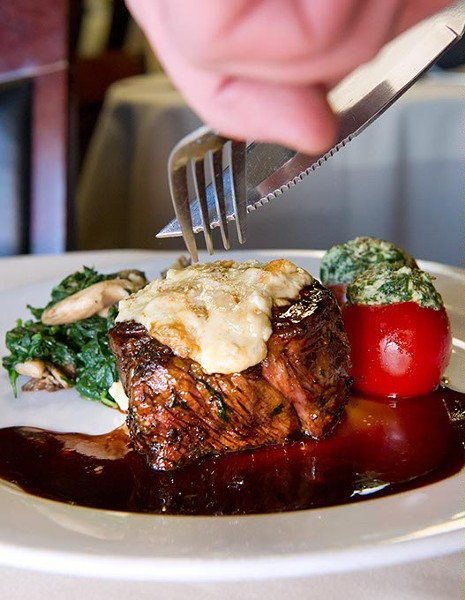 8oz beef tenderloin w smoked bleau cheese and cab sauv wine reduction. stuffed tomato w goat cheese and spinach w grilled oyster mushrooms.