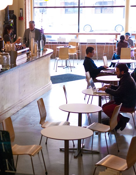 The layout of Coffee Slingers during late morning recently.  mh