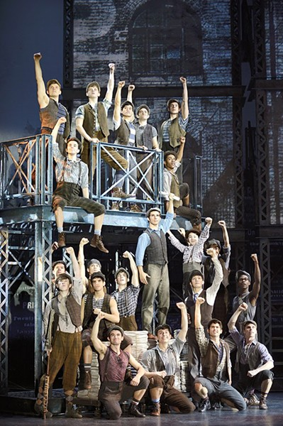 Newsies, a Disney Theatrical Production under the direction of Thomas Schumacher presents Newsies, music by Alan Menken, lyrics by Jack Feldman, book by Harvey Fierstein, starring Joey Barreiro (Jack Kelly), Steve Blanchard (Joseph Pulitzer), Morgan Keene (Katherine Plumber), Aisha de Haas (Medda Larkin), Stephen Michael Langton (Davey), Zachary Sayle (Crutchie), John Pitera or Ethan Steiner (Les) under the direction of Jeff Calhoun, choreographed by Christopher Gattelli, North American Tour - DEEN VAN MEER