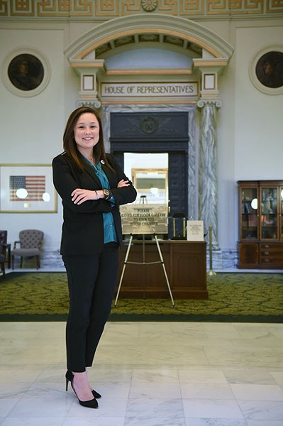 Cyndi Munson, House District 85, stands in front of the House entrance at the Oklahoma State Capitol (Gazette / file)