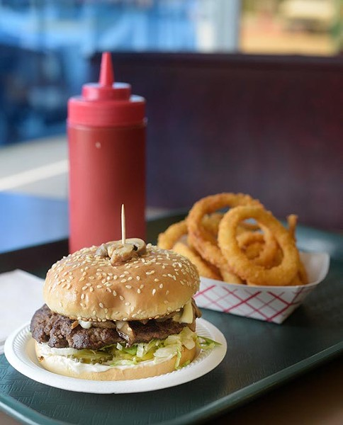 A mushroom burger and onion rings | Photo Garett Fisbeck