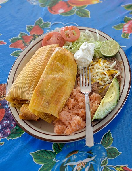 Tamales at Restaurant El Milagro, Monday, May 22, 2017. - GARETT FISBECK