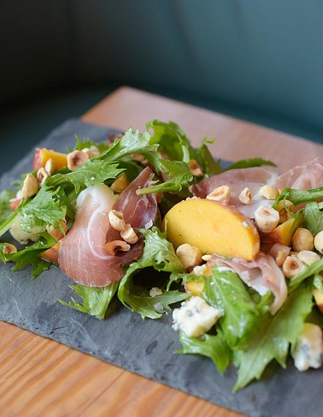 Local peach salad at Mary Eddy's Kitchen, Friday, July 28, 2017. - GARETT FISBECK