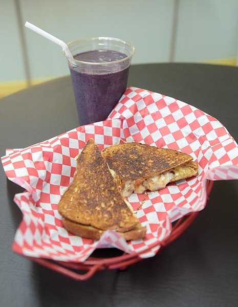 Grilled cheese and Green Machine at Bay Street Bistro & Smoothie Bar in Norman, Wednesday, Dec. 21, 2016. - GARETT FISBECK