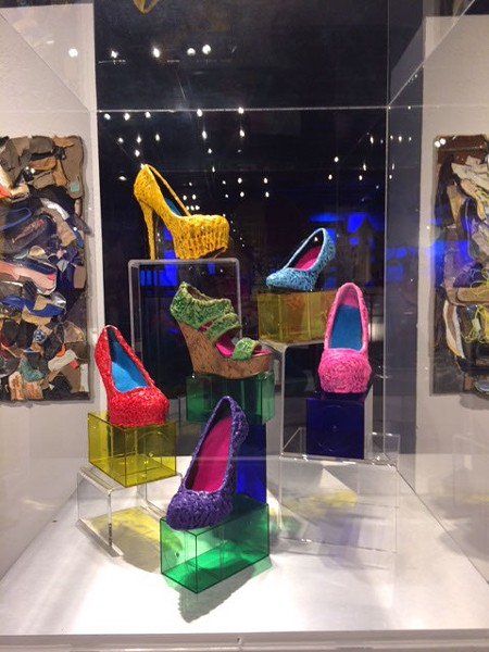 """""""Walking in Their Shoes"""" is artist Gayle Curry's encaustic contribution to Science Museum Oklahoma exhibit Sole Expression: The Art of the Shoe, on display now. (Photo provided)"""