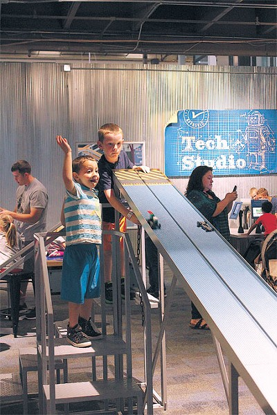 The raceway lets visitors test their new Lego vehicles in the Kid Inventor exhibit at Science Museum Oklahoma. | Photo Science Museum Oklahoma / Provided