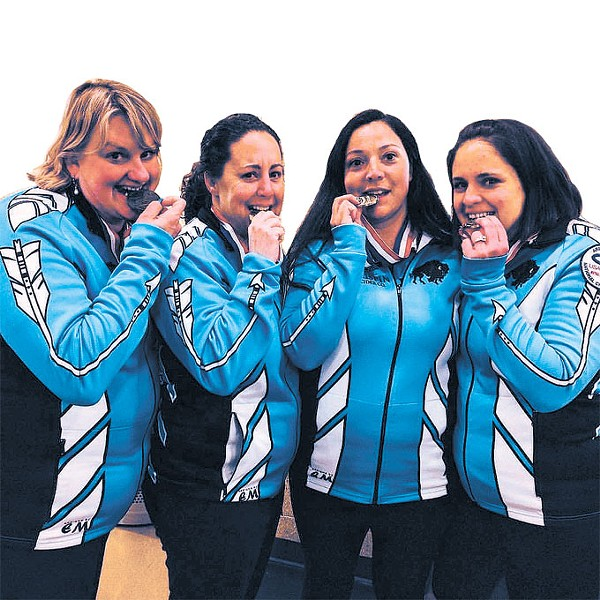 Members of the Oklahoma Curling Club celebrate a first place finish at the 2017 Arena Curling National Championship. | Photo provided