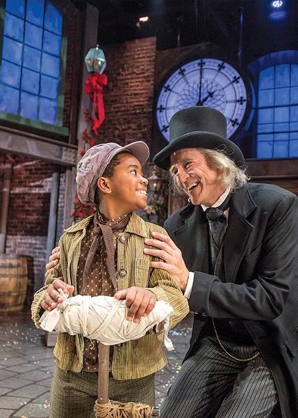 Myles Currin-Moore as Tiny Tim and Dirk Lumbard as Ebenezer Scrooge - KO RINEARSON / PROVIDED