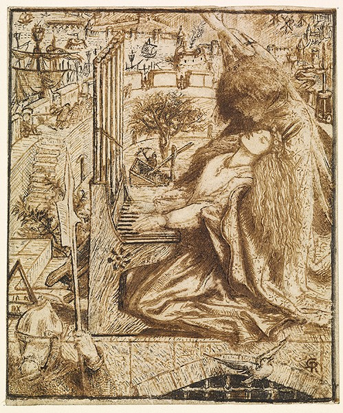 """Design for the 'Moxon Tennyson'"" by Dante Gabriel Rossetti. - IMAGE OKLAHOMA CITY MUSEUM OF ART / BIRMINGHAM MUSEUMS TRUST / PROVIDED"