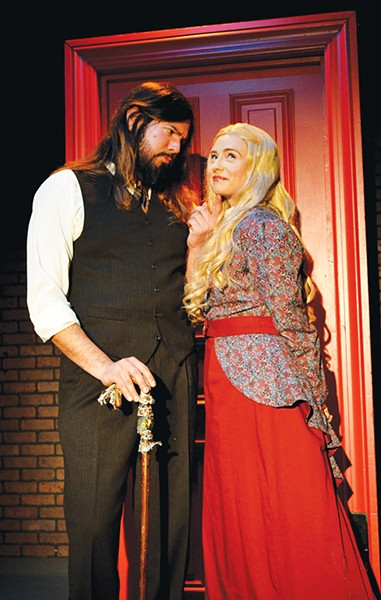Mr. Hyde (David Burkhart) flirts with Elizabeth (Christine Lanning) after following her one day through the park in Dr. Jekyll and Mr. Hyde. - CARPENTER SQUARE THEATRE / PROVIDED