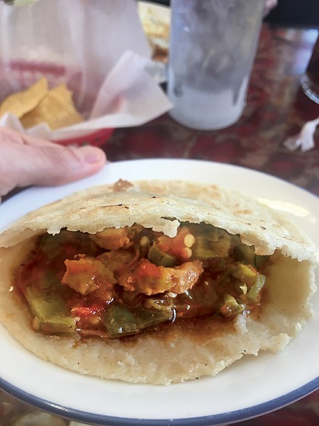 A corn gordita with pork and cactus - JACOB THREADGILL