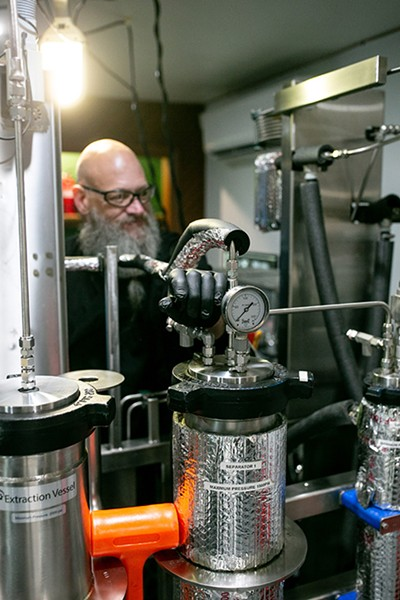Cannabis oil is extracted using CO2 at Simple Cure's Oklahoma City lab. - ALEXA ACE